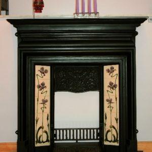 edwardian cast iron fireplace, cast iron fireplace, polished cast iron fireplace, small fireplace, black fireplace, electric fire fireplace, gas fire fireplace, open fire fireplace, compact fireplace, period fireplace