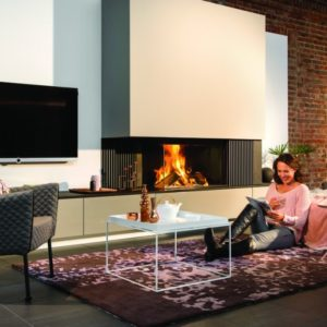 heat pure 90 corner woodburner, kal fire, kal fireplace, retracting glass door, retractable glass door, highly efficient fire, built in fire, insert fire, frameless fire, contemporary woodburner, corner woodburner fire, left handside corner fire, right handside corner fire