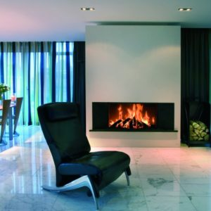 heat pure 105 woodburner, kal fire, kal fireplace, retracting glass door, retractable glass door, highly efficient fire, built in fire, insert fire, frameless fire, contemporary woodburner, front fire