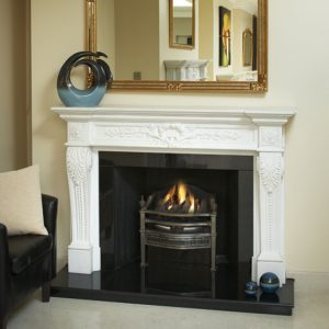 fontainbleau sevec honed marble fireplace, solid fuel fireplace, woodburner fireplace, electric fireplace, gas fireplace, custom made fireplace, made to measure fireplace, timeless fireplace, elegant fireplace