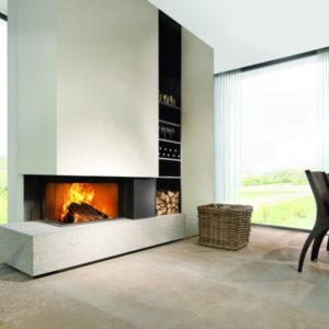 heat pure 65 corner woodburner, kal fire, kal fireplace, retracting glass door, retractable glass door, highly efficient fire, built in fire, insert fire, frameless fire, contemporary woodburner, corner woodburner fire