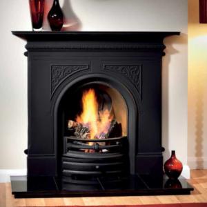 pembroke cast iron fireplace, cast iron fireplace, polished cast iron fireplace, small fireplace, black fireplace, electric fire fireplace, gas fire fireplace, open fire fireplace, compact fireplace, period fireplace