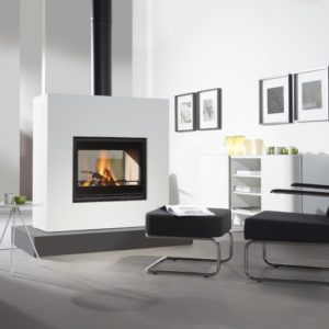 square 75 tunnel insert stove, wanders stove, small landscape insert fire, efficient woodburner, external air supply insert stove, minimalist stove, double sided stove, glass fronted stove, see through stove, modern stove, freestanding stove