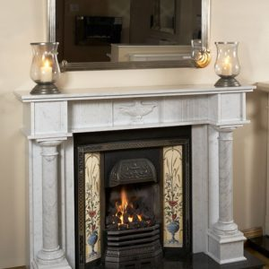 single pillar adams bianco carrera marble fireplace, solid fuel fireplace, woodburner fireplace, electric fireplace, gas fireplace, custom made fireplace, made to measure fireplace, timeless fireplace, georgian style fireplace, period fireplace