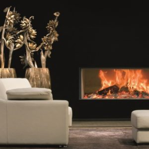 heat pure 120 front woodburner, kal fire, kal fireplace, retracting glass door, retractable glass door, highly efficient fire, built in fire, insert fire, frameless fire, contemporary woodburner, front fire
