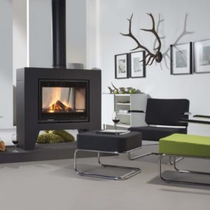 Jules insert stove, wanders stove, small landscape insert fire, efficient woodburner, external air supply insert stove, minimalist stove, glass double sided stove, freestanding stove, modern stove, no chimney required stove