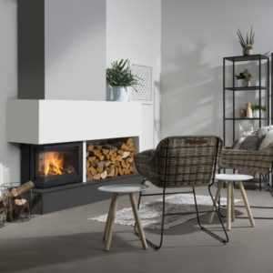 smart 60 corner woodburning insert stove, wanders stove, small landscape insert fire, efficient woodburner, external air supply insert stove, minimalist stove, glass fronted stove