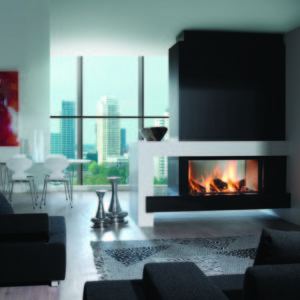 heat pure 105 tunnel woodburner, kal fire, kal fireplace, retracting glass door, retractable glass door, highly efficient fire, built in fire, insert fire, frameless fire, contemporary woodburner, tunnel woodburner fire, double sided fire, see through fire