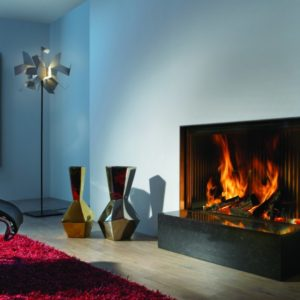 heat pure 100 front woodburner, kal fire, kal fireplace, retracting glass door, retractable glass door, highly efficient fire, built in fire, insert fire, frameless fire, contemporary woodburner, front woodburner fire