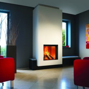 heat pure 71 woodburner, kal fire, kal fireplace, retracting glass door, retractable glass door, highly efficient fire, built in fire, insert fire, frameless fire, contemporary woodburner, front woodburner fire