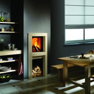 heat pure 45 woodburner, kal fire, kal fireplace, retracting glass door, retractable glass door, highly efficient fire, built in fire, insert fire, frameless fire, contemporary woodburner